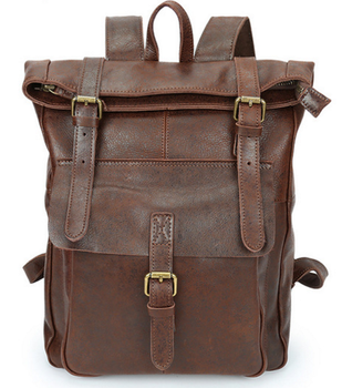 New Men Genuine Leather Backpacks High Capacity Preppy Style Zipper & Hasp Travel Bags Unisex Students Cowhide Bags Totes D617 фото