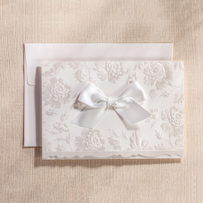 Fold White Bow Elegant Ribbons Flower Wedding Invitations Kit Blank Inside Cards Paper Photo Customize Free Print colorful white ribbons bow laser cut wedding invitations set blank paper insert romantic printing invitation cards kit