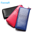 High quality fashion Ladies purse zipper leather wallet snake texture multi capacity bank card mobile phone bag women wallets