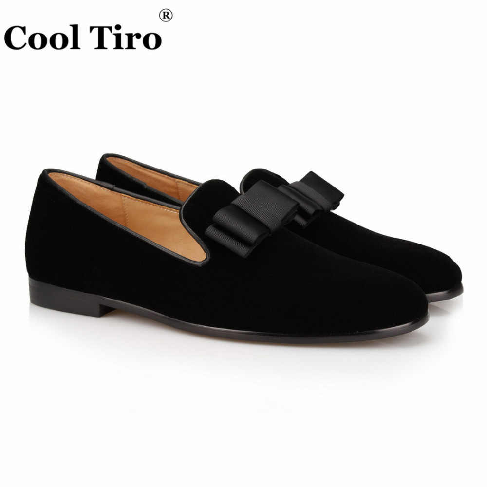 44454e27cde COOL TIRO 2018 Men Loafers Moccasins Slip On Men s Bow Tie Casual Shoes  Male Black velvet