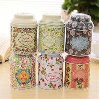 Korean Pastoral Iron Storage Tank Box Round Sealed Cans Coffee Tea Tin Container Vintage Romance Small