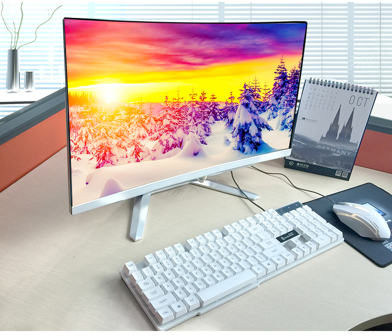 All In One  Desktop PC With CPU I3 RAM 2GB SSD 120GB 27 Inch Curved HD Screen Monitor Display Pc Computer