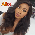Alice Ombre Wavy Hair Full Lace Wigs U Part Body Wave Human Hair Wig 9A Glueless Lace Front Wig For Black Women Bleached Knots