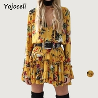 Yojoceli Long Sleeve Ruffle Button Hippie Dress Women Autumn Short Casual Boho Beach Dress Vestidos Loose