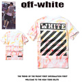 Off White T-shirts Men Women 1:1 Version High Quality Cotton Hip Hop Clothing Tie-dye Striped Kanye West GD Off White Tee-shirts
