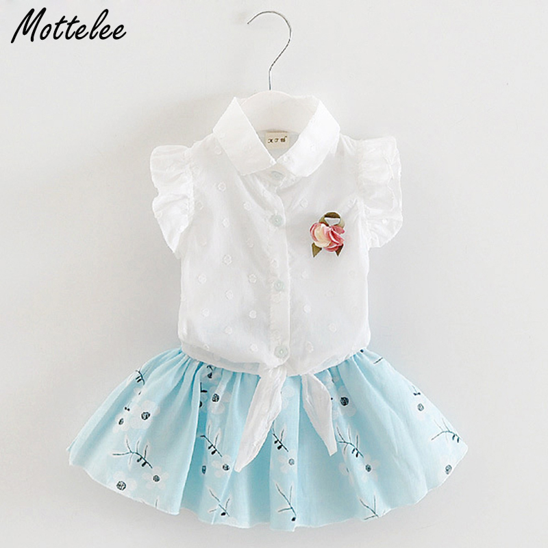 Mottelee Baby Girls Clothing Set White Shirt Skirt Flower Infant Outfit Summer Fancy Polka Dot Toddler Suit Newborn Clothing xmas rhinestone santa baby top green white dot red skirt baby girl outfit 1 8y mapsa0048