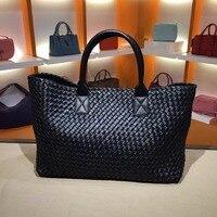 2018 High capacity Vegetable basket Double sheepskin Handbag High capacity Genuine leather Woven bag Woman High quality