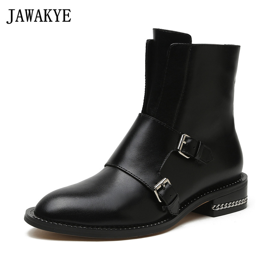 Genuine leather Women Boots British metal chain decor Ankle Boots double Strap buckled 2018 Riding martin Booties winter shoes все цены