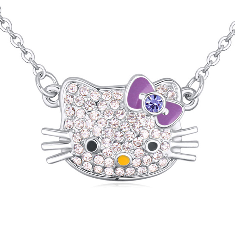 Small Cute Necklace Kitty Cat Pendant Austrian Crystal Girls Jewelry Women Famous Brand Jewellery New Animal Necklace 3 Colors
