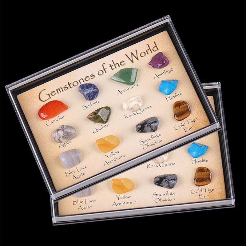 Creative Handcraft Natural Polished Crystal Gemstone Identification Card Collector Kit For Embellishment Decoration Friends in Stones from Home Garden