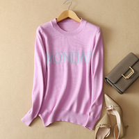 2018 logn sleeve knitted sweater women pullovers Monday Thursday Saturday korean sweater Autumn fashion pull femme jumper