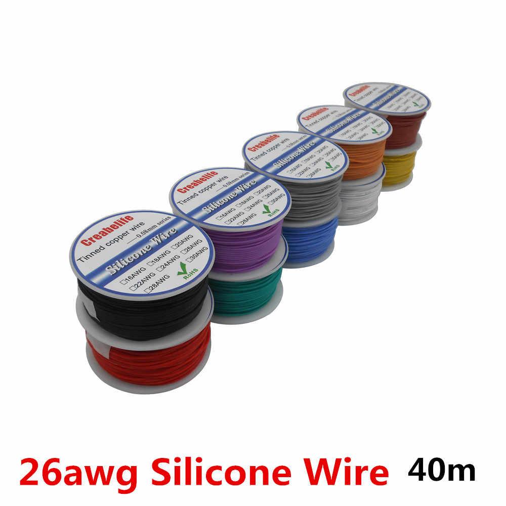 40 메터/몫 26 awg 유연한 실리콘 와이어 10 색 rc 케이블 라인 스풀 od 1.5mm 주석 도금 구리 와이어 전기 와이어