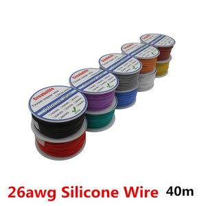 40 m/partia 26 AWG elastyczny przewód silikonowy 10 kolorów linia kablowa RC z szpula OD 1.5mm ocynowany drut miedziany przewód elektryczny