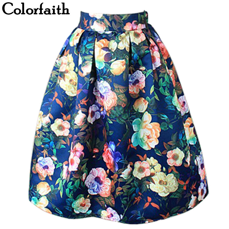 Women Midi Pleated Skirts Vintage Floral Printed Ball Gown High Waist Flared Knee Length Skater Skirts Saias Femininas SK046|gown uk|gown promgowns for pregnant women - AliExpress
