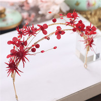 2017 New Chinese Red Yarn Flower Hair Band Pearl Wedding Tiara Bridal Hair Accessories Hair Band