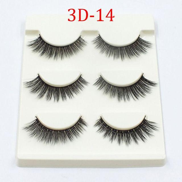 9d626b11140 3 Pairs Handmade Natural Long Thick 3D Eye Lashes Synthetic Fibers Makeup  Fake False Eyelashes 3D-14 High Quality