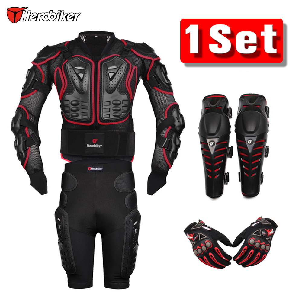 HEROBIKER Red Motocross Racing Motorcycle Body Armor Protection Jacket Gears Shorts Pants Protective Motorcycle Knee Pads
