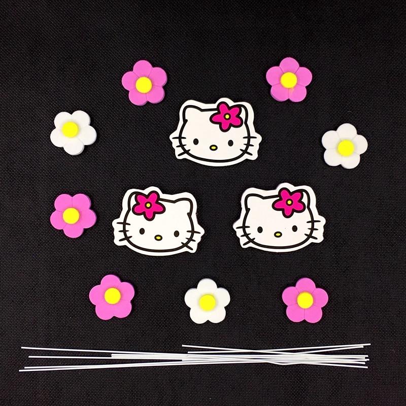 3e86f0b0c 1 Set/lot Lovely Hello Kitty White Pink Flower Cake Topper Picks ...