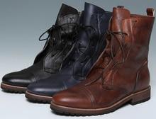 2017 Моды коричневый загар/черный Ретро мужские мотоцикла ботинки из натуральной кожи мужские сапоги на открытом воздухе обувь повседневная ботильоны