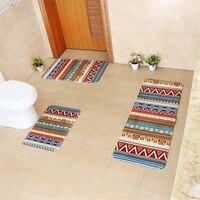 Honlaker 3 Pcs Bath Mats Flannel Bohemia Pattern Bathroom Toilet Sets colorful Fashion Kitchen Rugs Door Carpet Entry