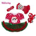 Christmas dress baby girls 2016 de navidad muchachas del estilo mameluco recién nacido de manga corta de algodón de punto rojo tutu dress vestidos de la princesa partido