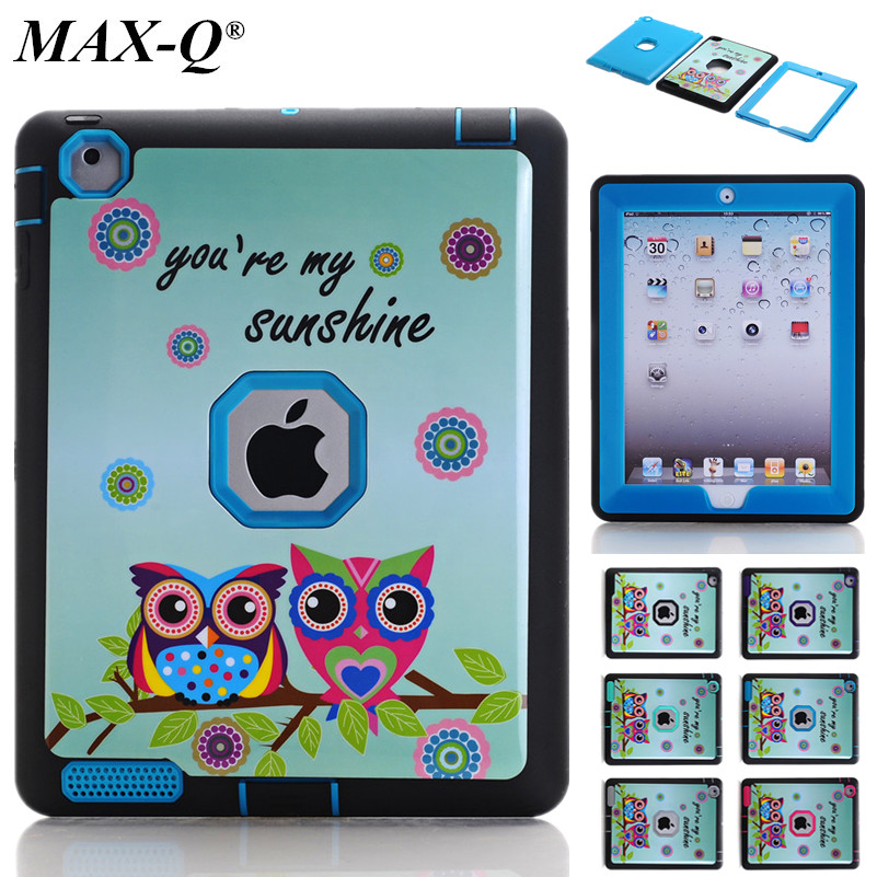 For Apple iPad 2 Case Cover MAX-Q Durable 3 Layers TPU + PC Hybrid Rugged Shockproof Defender for Case iPad 2 3 4 9.7'' Cover
