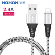 NOHON Nylon Charger Sync Data Cable 8 Pin For iphone XS XR X 7 6 6S 5S Plus iPad Mini Lighting Short Charge Cord 0.3M 1.2M