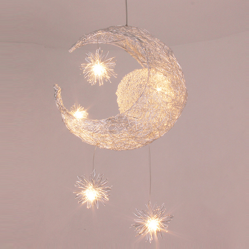 Children lamp Aluminum LED wire pendant lights bedroom dining room lamps moon brief childen room decoration lighting lamp ZH
