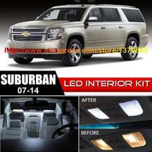 Free Shipping 14Pcs/Lot car-styling Xenon White Canbus Package Kit LED Interior Lights For 07-14 Chevy Suburban