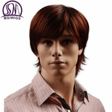 MSIWIGS 8 дюймов короткие волосы синтетические парики для мужчин натуральные красновато-коричневые прямые мужские парики с челкой термостойки...