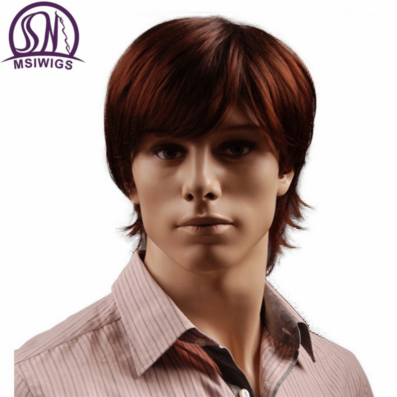 MSIWIGS 8 Inch Short Hair Synthetic Wigs For Men Natural Reddish Brown Straight Male Wig With Bangs Heat Resistant