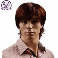 MSIWIGS pelucas sintéticas de pelo corto de 8 pulgadas para hombre, peluca para hombre recta de color marrón rojizo Natural con flequillo resistente al calor