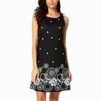 2017 O Neck Sleeveless Vintage Summer Geometry Dot Print Dress Women Casual Mini Dress Vestidos