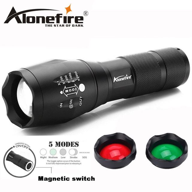AloneFire high powered led tactical flashlight nightligh E17 G700 Focusable 3 colors Exchange Glass Lens RED GREEN light Torch