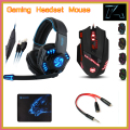 Noswer i8 ratón + sades gaming headset auriculares + t90 mousepad con 3.5mm 1 Hembra a 2 macho Adaptador de Audio para PC Gamer Teléfonos