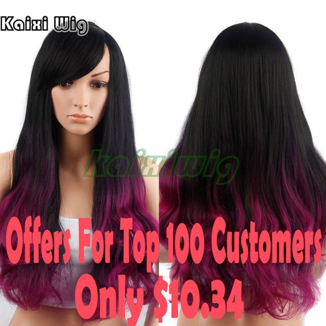 28''Long Curly Purple Wigs For Black Women Long Wavy Colored Violet Wig Cheap Synthetic Wigs For Women Long Ombre Wig Cosplay