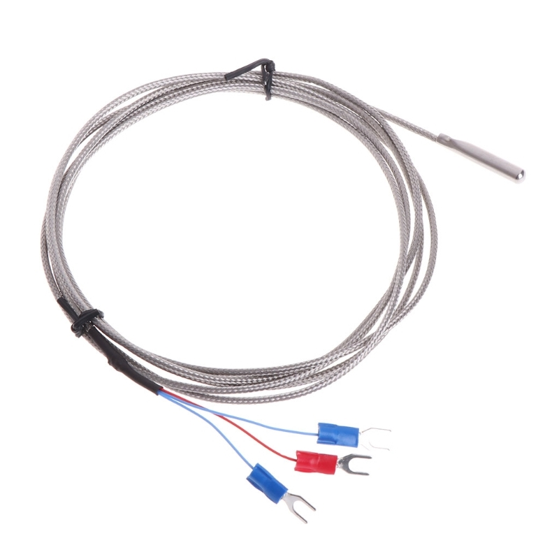 stainless steel rtd pt100 temperature sensor thermocouple with 2m 3 cable wires for temperature