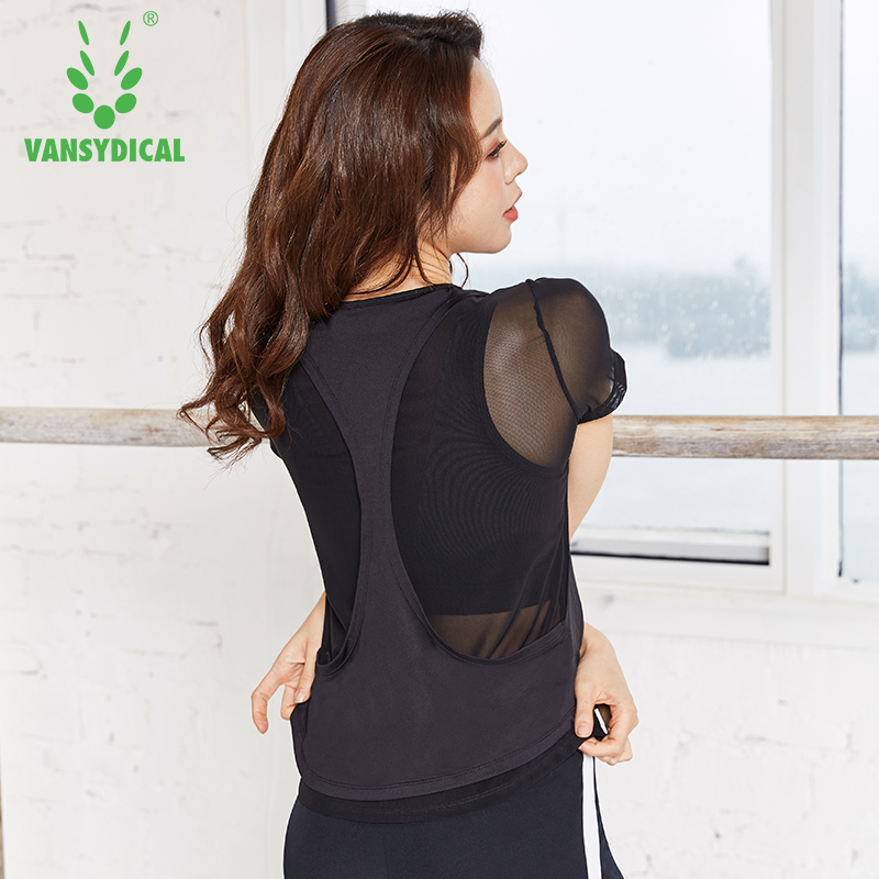 Vansydical 2019 Women's <font><b>Sexy</b></font> Mesh Yoga <font><b>Shirts</b></font> <font><b>2</b></font> in <font><b>1</b></font> Sports Tops Quick Drying Fitness Workout Tees U-Neck Training Jerseys image