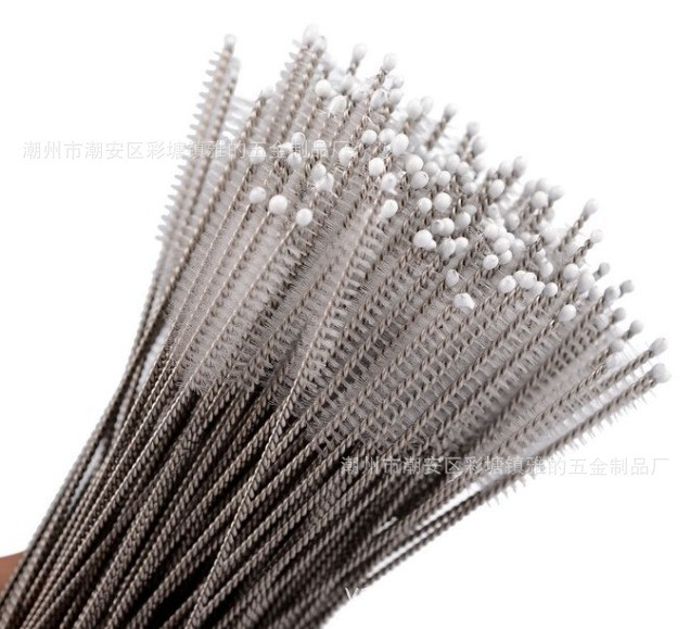 DHL600pcs lot 8inch Stainless Steel Straw Brush Bottle Cleaning Brushes Size 200mm x10mm