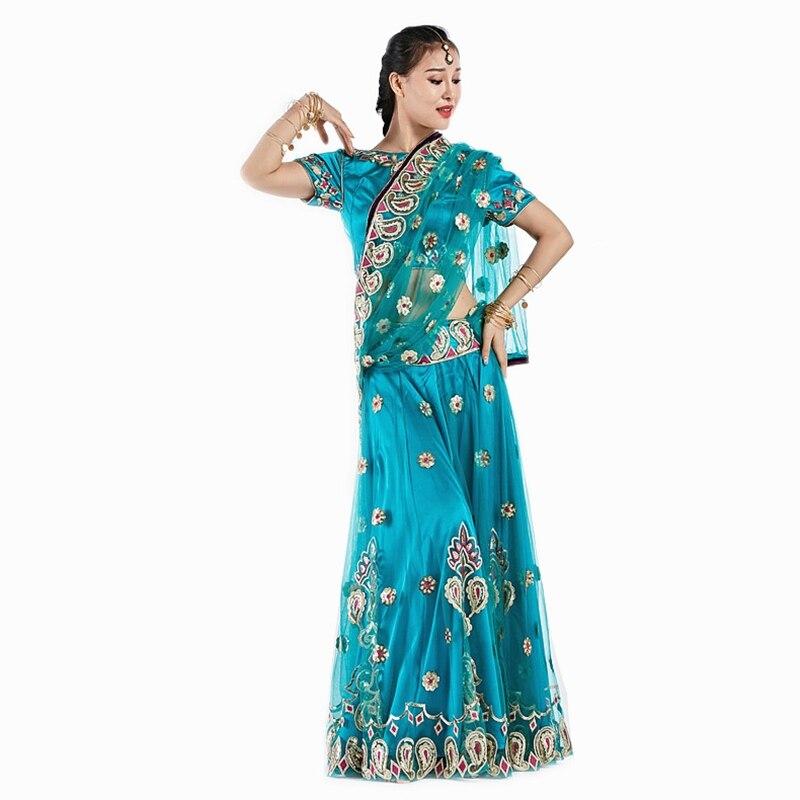 2018 Vêtements De Danse Performance Vêtements De Danse Du Ventre Indien De Danse Brodé Bollywood Costume 3 pièces Ensemble (Top, jupe et Sari)