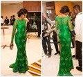 2017 Celebrity Dresses Sirena Cuello Alto Mangas Largas Verde Esmeralda Vestidos de Noche Larga de Encaje Vestidos de la Alfombra Roja
