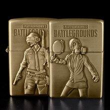 New PUBG Lighter Bronze Kerosene Oil Lighter Flint Refillable Gasoline Cigarette Metal Retro Gadgets for Men Battlegrounds