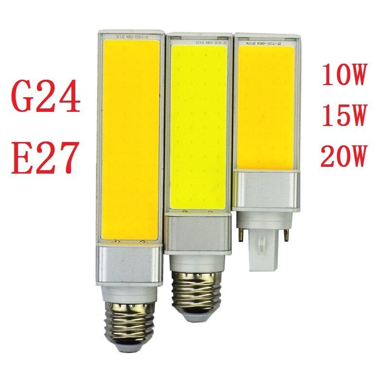 10 Вт 15 Вт 20 Вт горизонтальный разъем свет Светодиодная лампа G24 E27 cob лампы теплый белый 180 degeree bombilla AC 110 В 220 В освещения 10 шт./лот