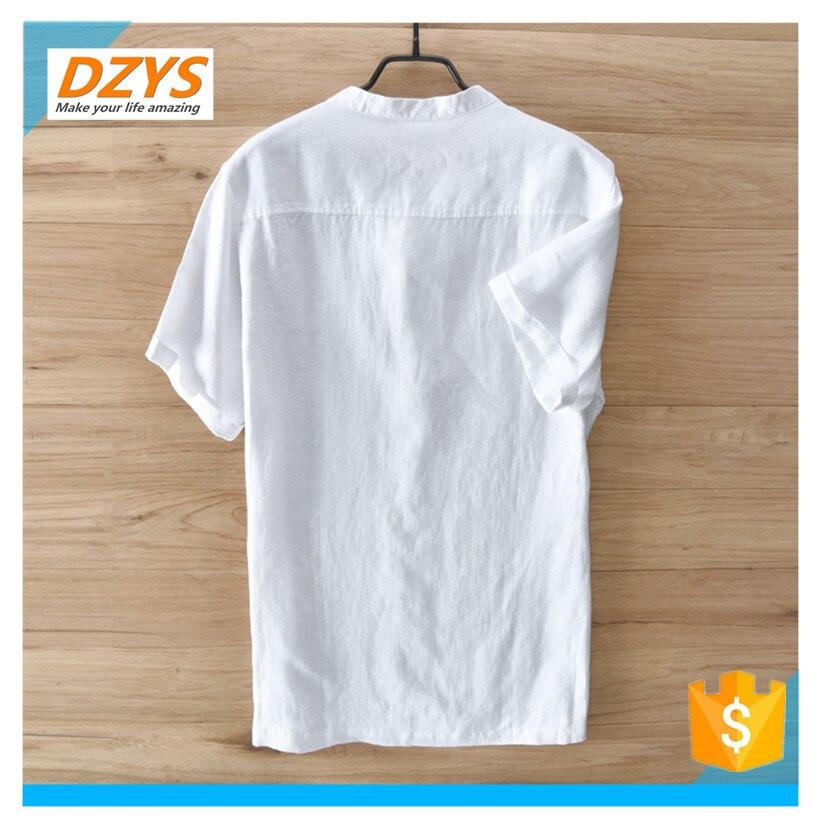 DZYS JF estilo chino de algodón y lino de los hombres de manga corta de lino de manga corta Camisa de gran tamaño Lino verano Suelto camiseta - 2