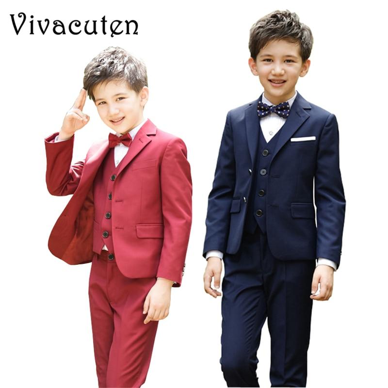 Children Boys Suits Set Kids Blazers Vest Pants Shirt Teens Party Costume Formal