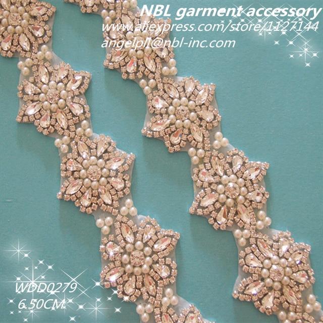 (10 yards) Wholesale bridal beaded crystal rhinestone pearl trim iron on  for wedding dress sash WDD0279 bb68cd96e422