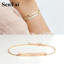 Senfai Customize Bracelets for women men Gold Silver Engrave Letter Name Unice Unicorn Cufff Wicca Kids Bracelet Bangle Jewelry