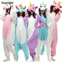 סטי פיג 'מה Kigurumi Unicorn חג מולד תלבושות למבוגרים מסיבת קוספליי Nighte חורף הילדים בעלי החיים סרבל תינוקות הלבשת לנשים