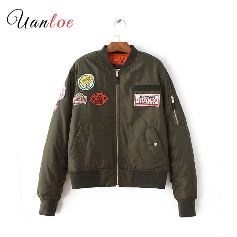 2018 Autumn Winter Padded Badge   Basic     Jacket   Coat Zipper Army Green Bomber   Jacket   Women Pilot   Jacket   Feminina Jaqueta Outerwear