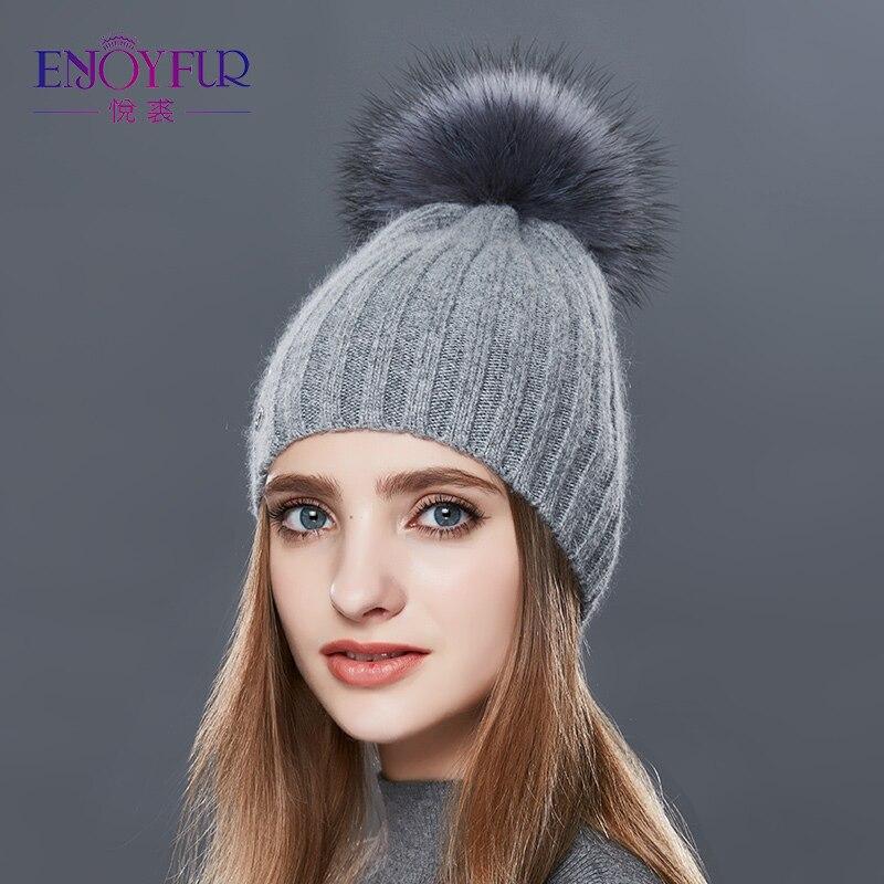ENJOYFUR Fashion Vertical Stripes Winter Hats For Women Cashmere Knitted Hat Female High Quality Fur Pom Pom Autumn Warm   Beanie